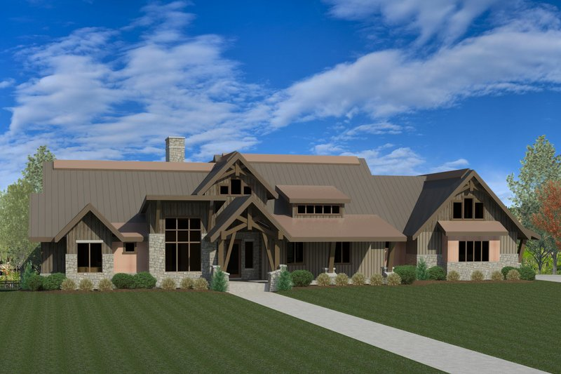 Craftsman Style House Plan - 3 Beds 3.5 Baths 4759 Sq/Ft Plan #920-70 Exterior - Front Elevation
