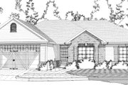 European Style House Plan - 3 Beds 2 Baths 1502 Sq/Ft Plan #63-366 Exterior - Front Elevation