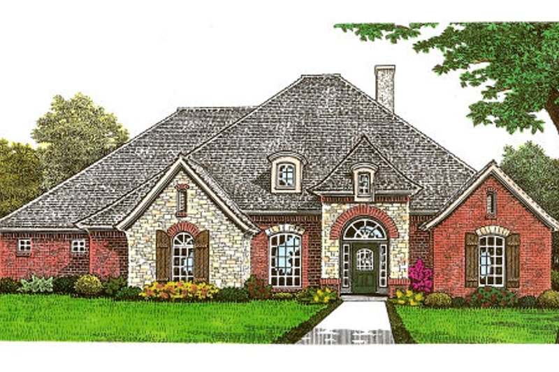 European Style House Plan - 3 Beds 2.5 Baths 2975 Sq/Ft Plan #310-668 Exterior - Front Elevation