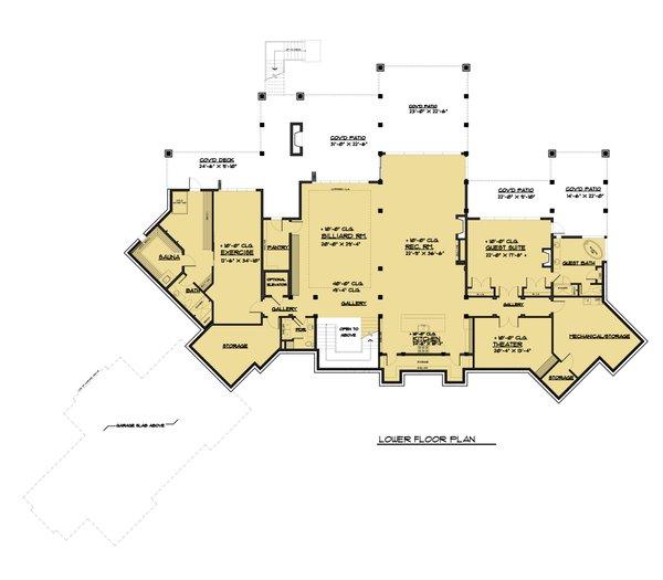 Classical Floor Plan - Lower Floor Plan Plan #1066-86