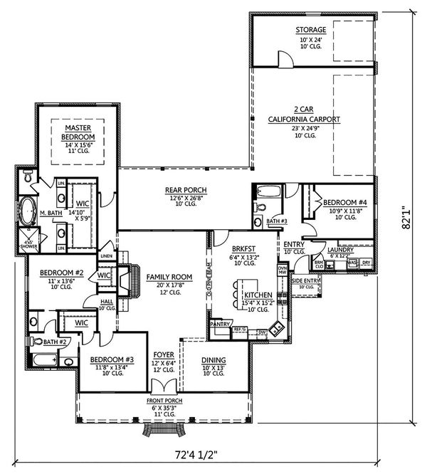 Southern Floor Plan - Main Floor Plan Plan #1074-21