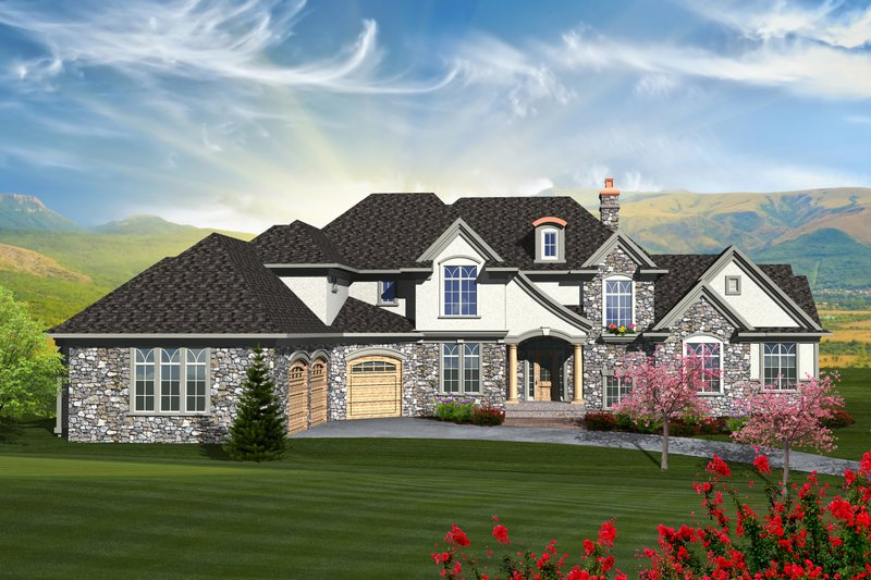 Dream House Plan - European Exterior - Front Elevation Plan #70-1129