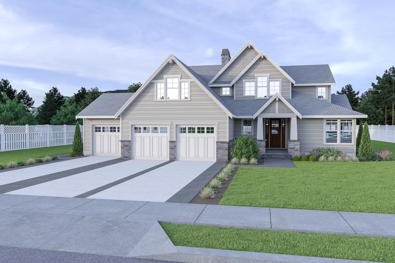 Architectural House Design - Craftsman Exterior - Front Elevation Plan #1070-101