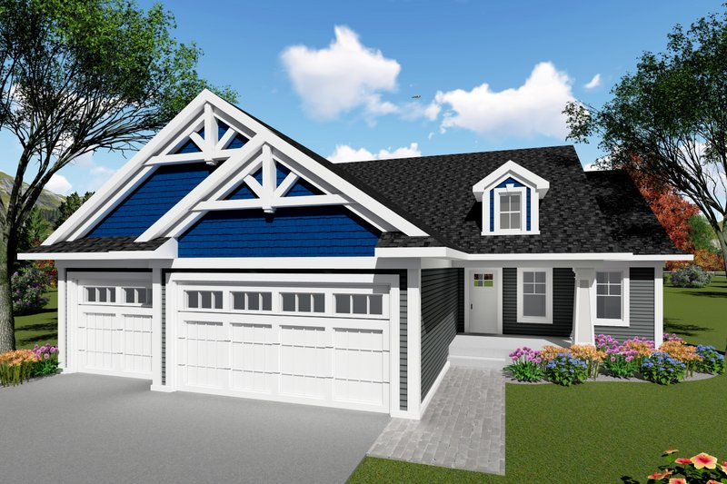 Ranch Exterior - Front Elevation Plan #70-1414