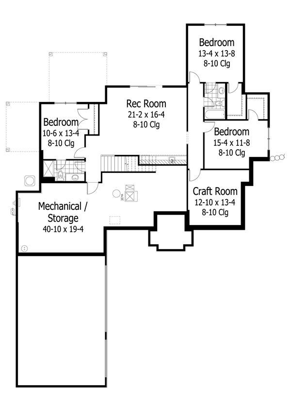 Traditional Floor Plan - Lower Floor Plan Plan #51-491