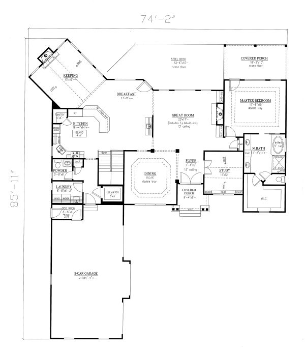 Craftsman Floor Plan - Main Floor Plan Plan #437-100