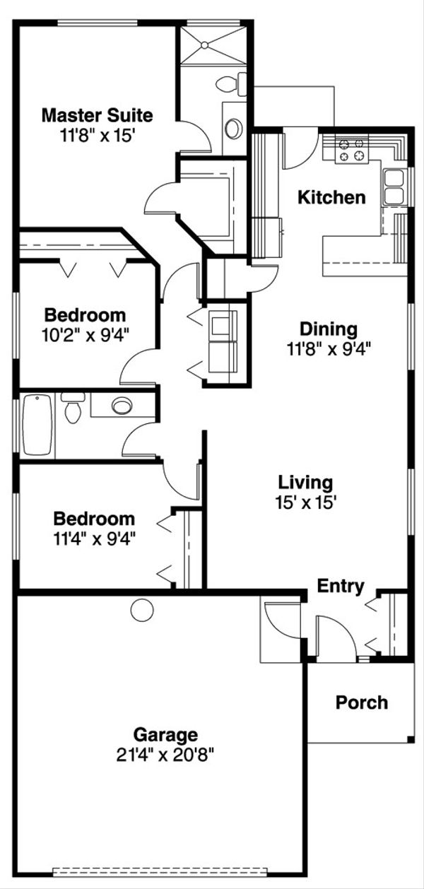 Ranch Floor Plan - Main Floor Plan Plan #124-724
