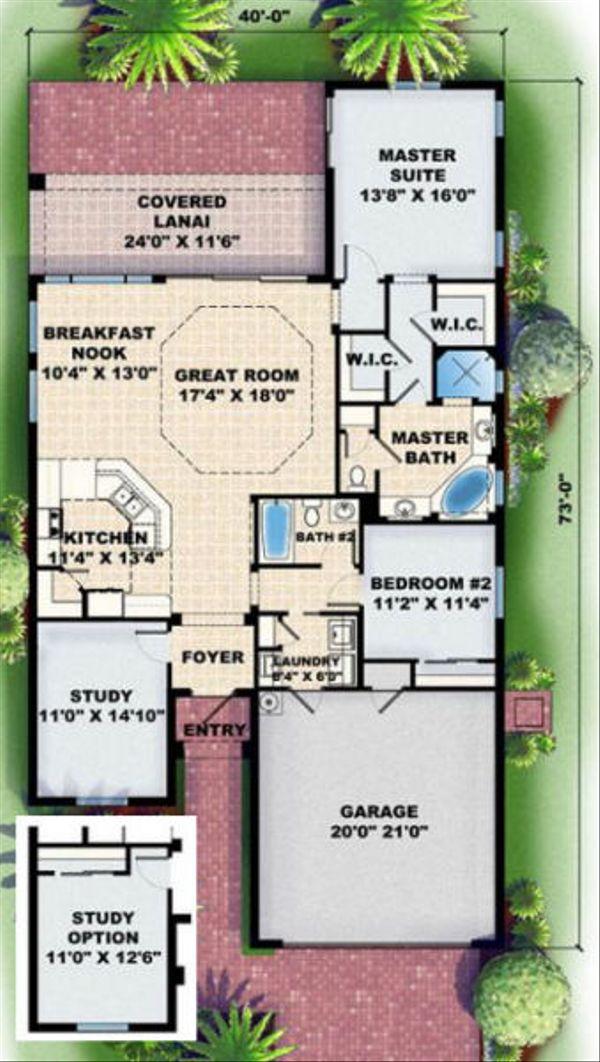 Mediterranean Floor Plan - Main Floor Plan Plan #27-344