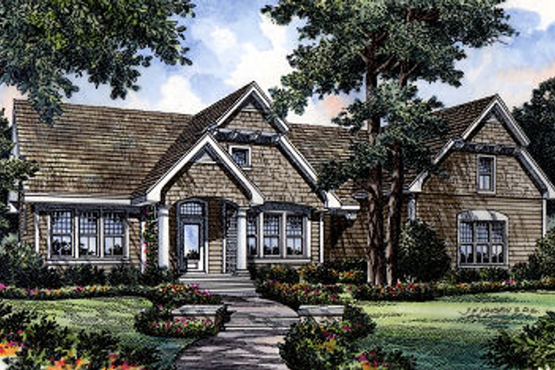 Traditional Style House Plan - 3 Beds 2.5 Baths 1997 Sq/Ft Plan #417-178 Exterior - Front Elevation