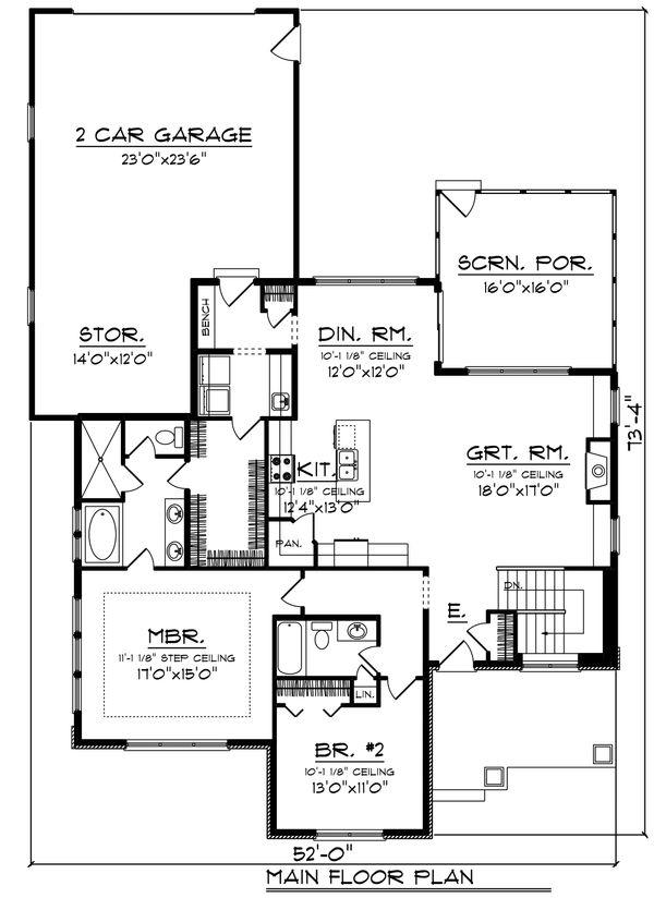 Ranch Floor Plan - Main Floor Plan Plan #70-1459