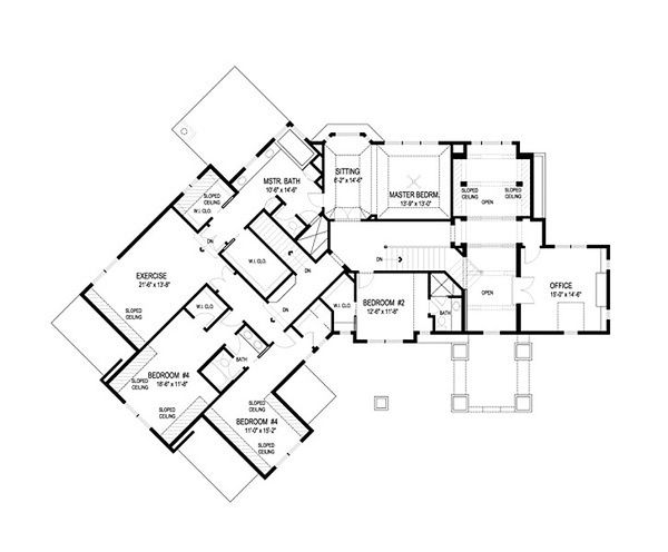 Traditional Floor Plan - Upper Floor Plan Plan #56-599