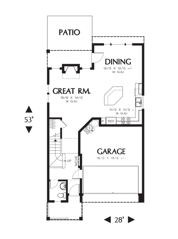 Craftsman Floor Plan - Main Floor Plan Plan #48-631
