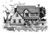 Country Style House Plan - 4 Beds 2.5 Baths 2105 Sq/Ft Plan #20-223 Exterior - Front Elevation