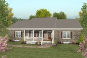 Country Style House Plan - 2 Beds 2.5 Baths 1500 Sq/Ft Plan #56-643 Exterior - Front Elevation