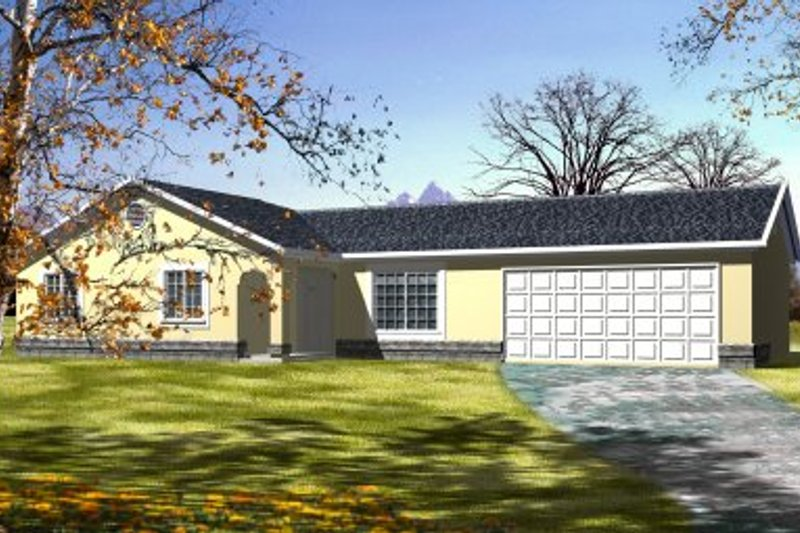 Adobe / Southwestern Style House Plan - 3 Beds 2 Baths 1194 Sq/Ft Plan #1-205 Exterior - Front Elevation
