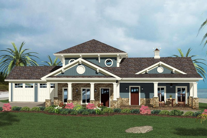 Architectural House Design - Craftsman Exterior - Front Elevation Plan #56-714
