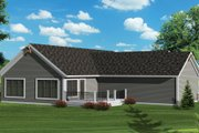 Craftsman Style House Plan - 2 Beds 2 Baths 1617 Sq/Ft Plan #70-1045 Exterior - Rear Elevation