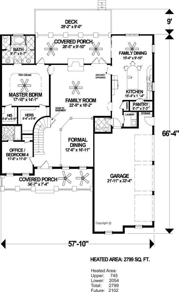 Craftsman Floor Plan - Main Floor Plan Plan #56-719
