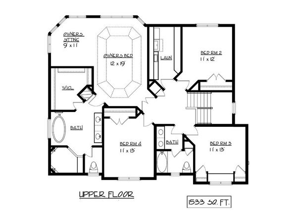 European Floor Plan - Upper Floor Plan Plan #320-502