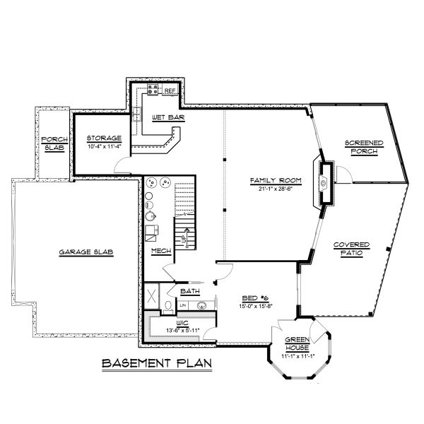 Craftsman Floor Plan - Lower Floor Plan Plan #1064-23