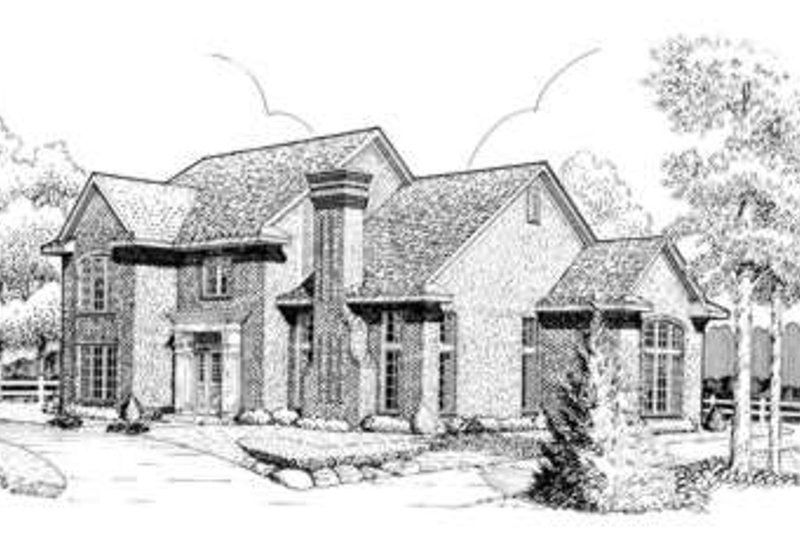 European Style House Plan - 4 Beds 3.5 Baths 2960 Sq/Ft Plan #410-267 Exterior - Front Elevation