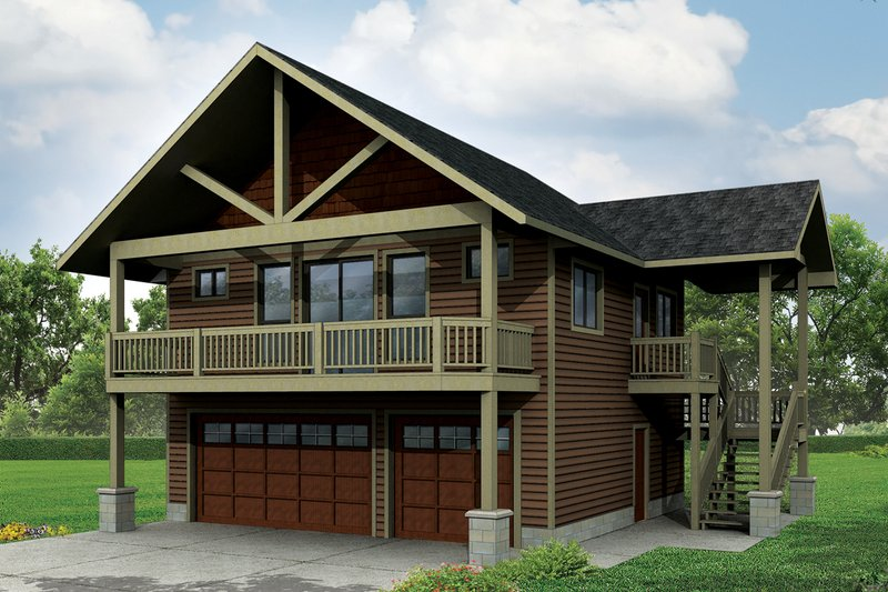 Craftsman Style House Plan - 1 Beds 1 Baths 896 Sq/Ft Plan #124-963