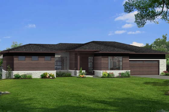 Modern Exterior - Front Elevation Plan #1057-23