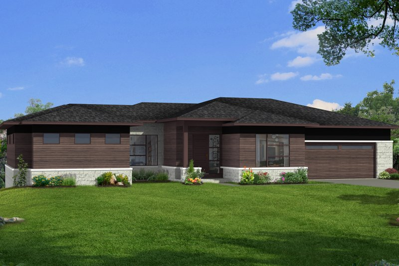 Architectural House Design - Modern Exterior - Front Elevation Plan #1057-23