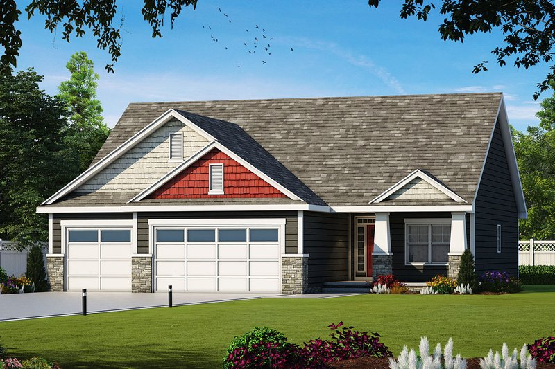 Craftsman Style House Plan - 3 Beds 2 Baths 1676 Sq/Ft Plan #20-2323 Exterior - Front Elevation