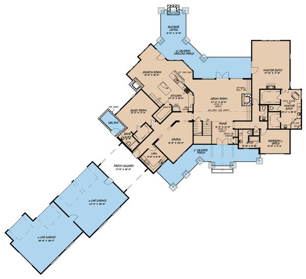 Country Floor Plan - Main Floor Plan Plan #923-39