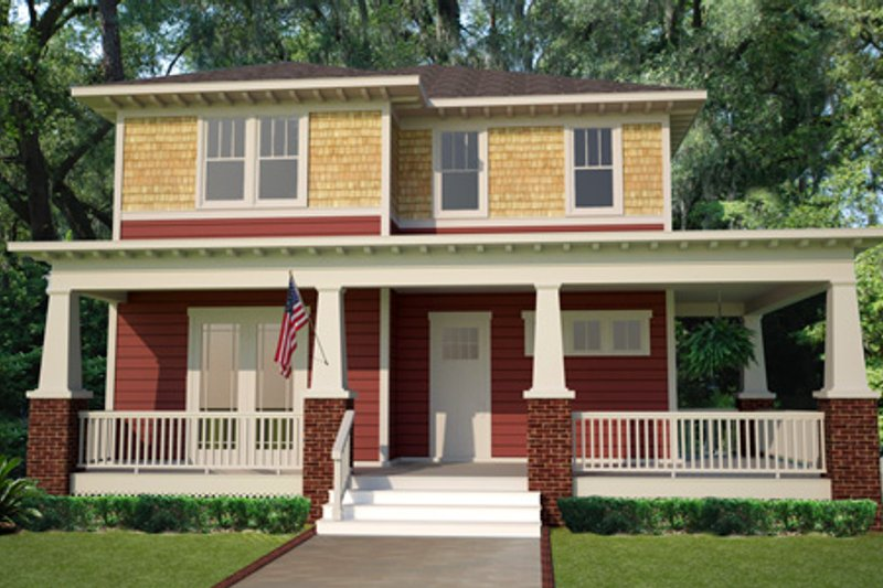Craftsman Style House Plan - 3 Beds 2.5 Baths 2572 Sq/Ft Plan #461-15 Exterior - Front Elevation