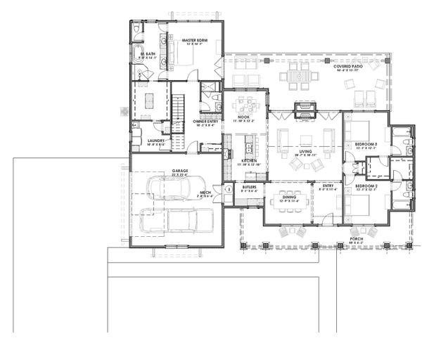 House Plan Design - Farmhouse Floor Plan - Main Floor Plan #1069-2