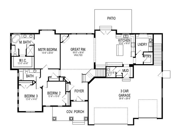 Craftsman Floor Plan - Main Floor Plan Plan #920-22