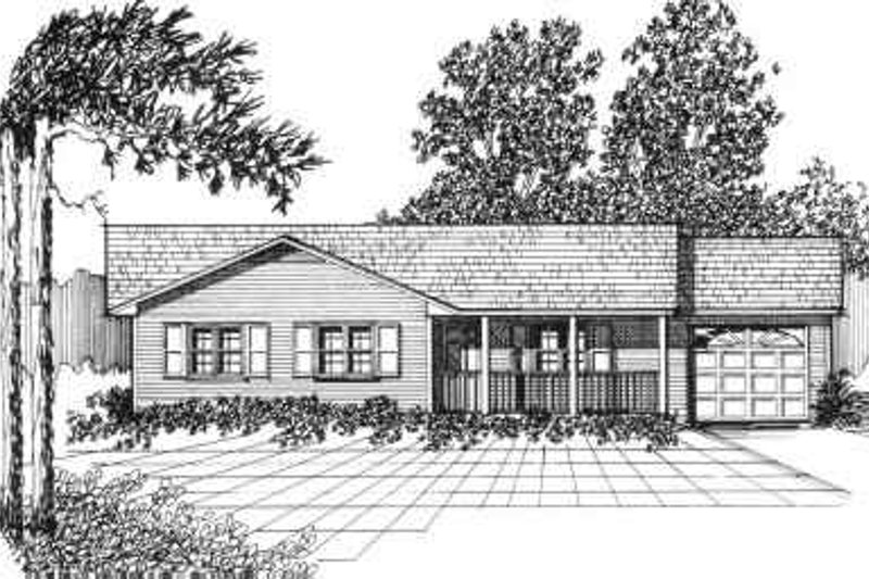 Ranch Style House Plan - 3 Beds 1.5 Baths 1055 Sq/Ft Plan #30-106 Exterior - Front Elevation