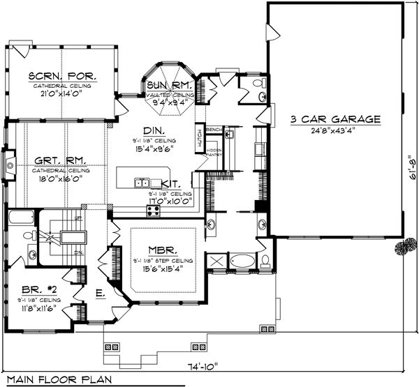 Craftsman Floor Plan - Main Floor Plan Plan #70-1106