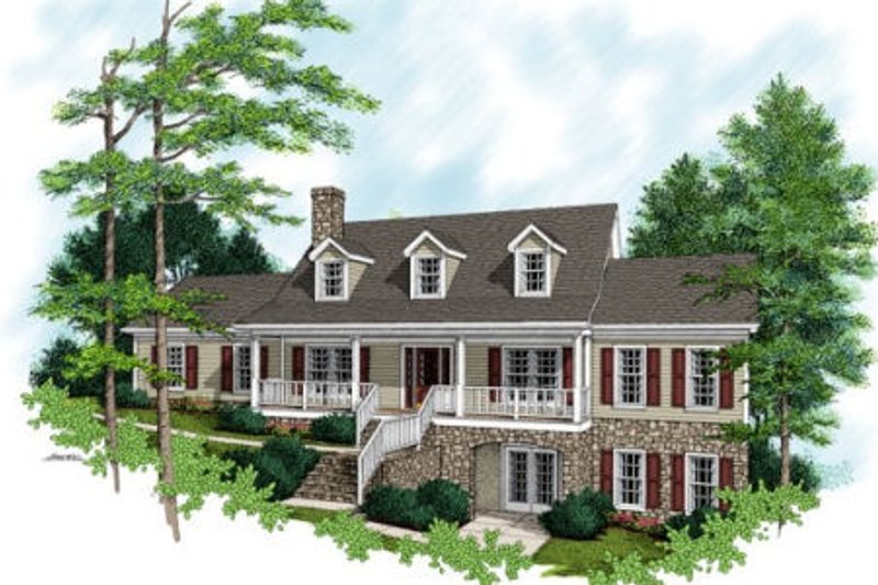 Southern Exterior - Front Elevation Plan #56-183