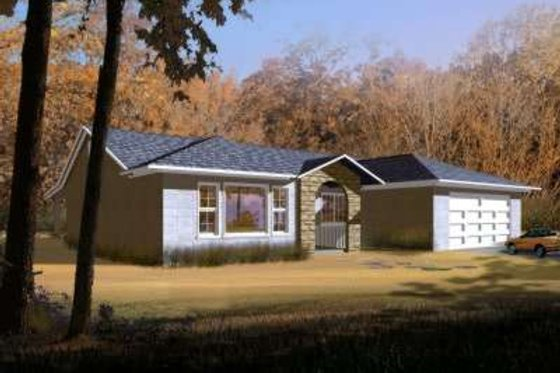 Adobe / Southwestern Exterior - Front Elevation Plan #1-328