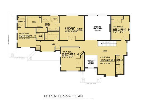 Traditional Floor Plan - Upper Floor Plan Plan #1066-75
