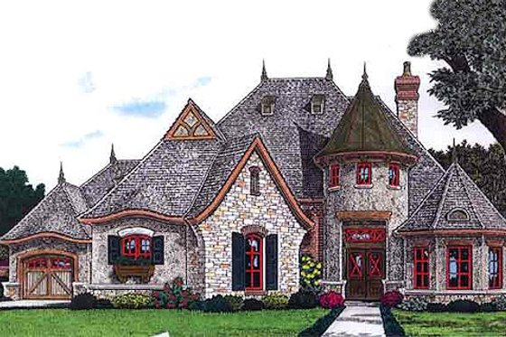 European Exterior - Front Elevation Plan #310-707