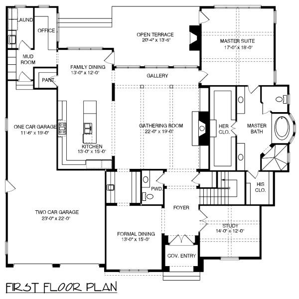 European Floor Plan - Main Floor Plan Plan #413-891