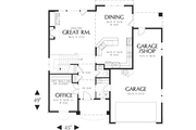 Craftsman Style House Plan - 3 Beds 2.5 Baths 2164 Sq/Ft Plan #48-109 Floor Plan - Main Floor