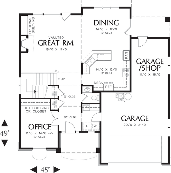 Traditional style Plan 48-109, main floor