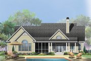 Ranch Style House Plan - 3 Beds 2.5 Baths 1970 Sq/Ft Plan #929-938 Exterior - Rear Elevation