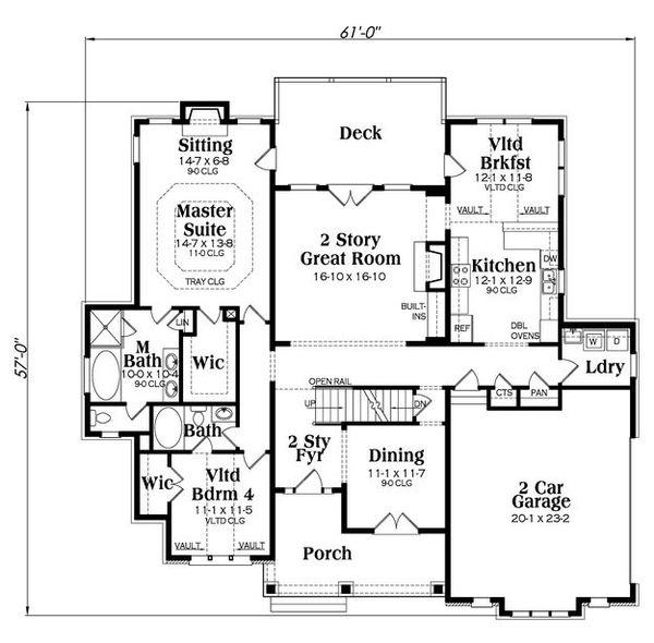 Craftsman Floor Plan - Main Floor Plan Plan #419-259