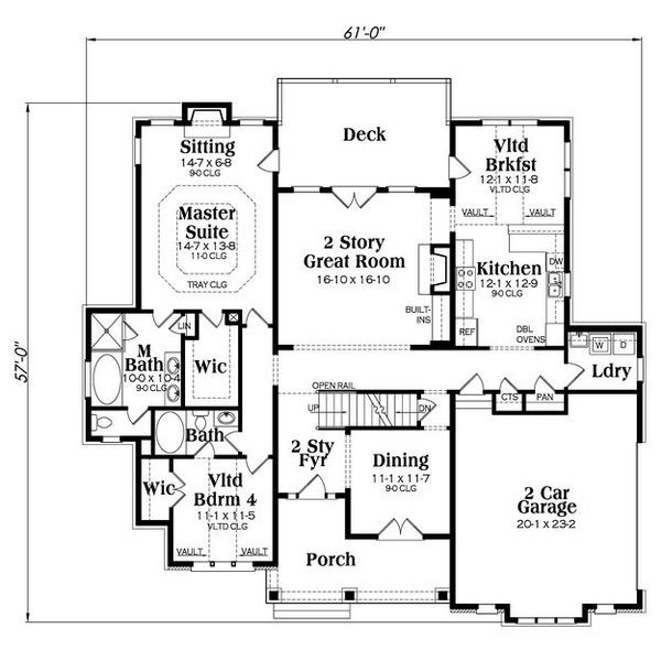 Craftsman Floor Plan - Main Floor Plan Plan #419-259