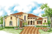 House Plan Design - Mediterranean Exterior - Front Elevation Plan #930-427
