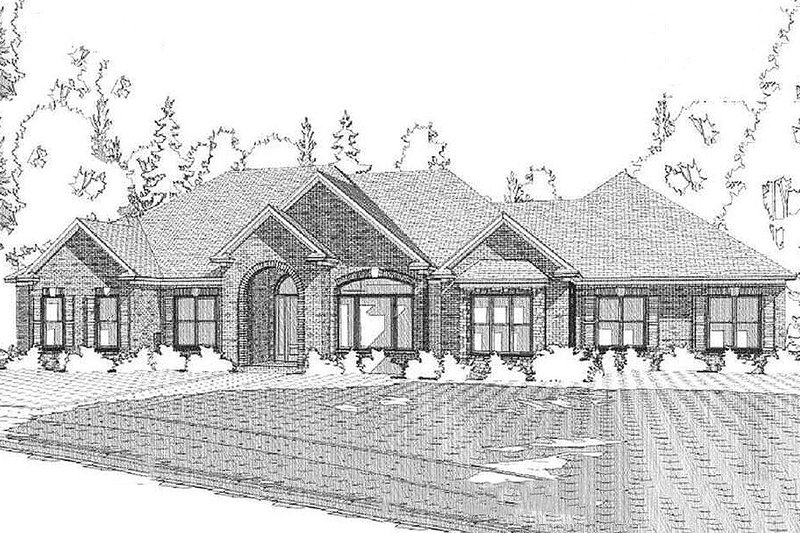 Traditional Style House Plan - 4 Beds 2 Baths 2804 Sq/Ft Plan #63-393 Exterior - Front Elevation