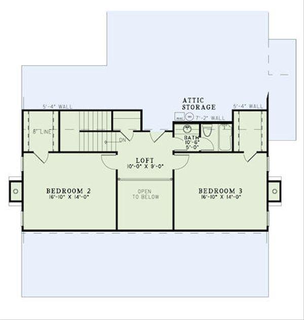 Farmhouse Floor Plan - Upper Floor Plan Plan #17-2441