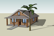 Cottage Style House Plan - 3 Beds 2 Baths 1200 Sq/Ft Plan #423-49 Exterior - Front Elevation