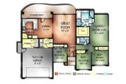 Mediterranean Style House Plan - 4 Beds 2 Baths 1804 Sq/Ft Plan #24-166 Floor Plan - Main Floor Plan